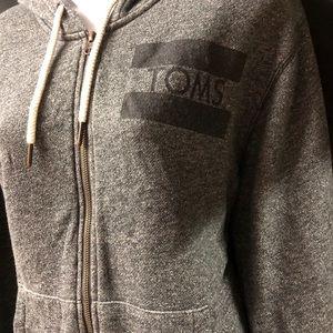 TOMS Logo Grey Zip Up Hoodie